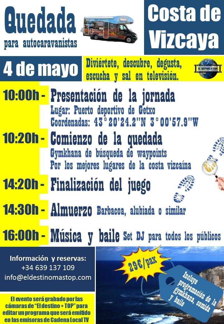 cartel promocional de color morada sobre las quedada para autocaravanistas Costa de Vizcaya