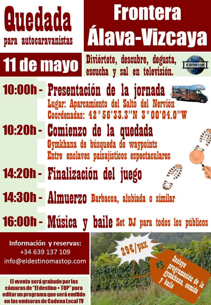 cartel promocional de color morada sobre las quedada para autocaravanistas Valle de Ayala