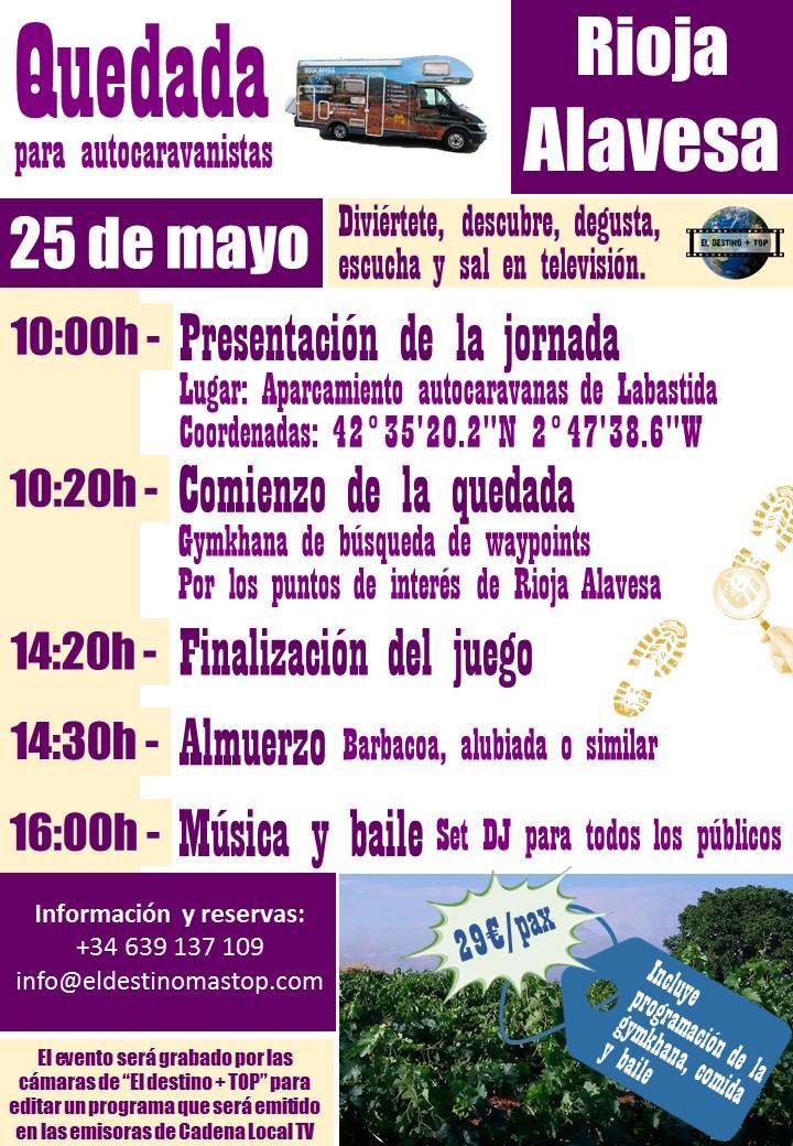 cartel promocional de color morada sobre las quedada para autocaravanistas Rioja Alavesa
