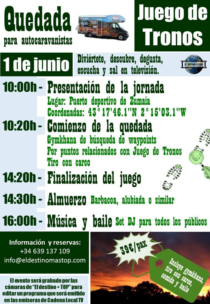 cartel promocional de color morada sobre las quedada para autocaravanistas Juego de Tronos