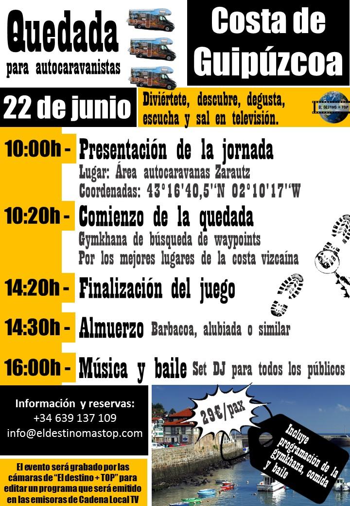 cartel promocional de color morada sobre las quedada para autocaravanistas Costa de Guipúzcoa