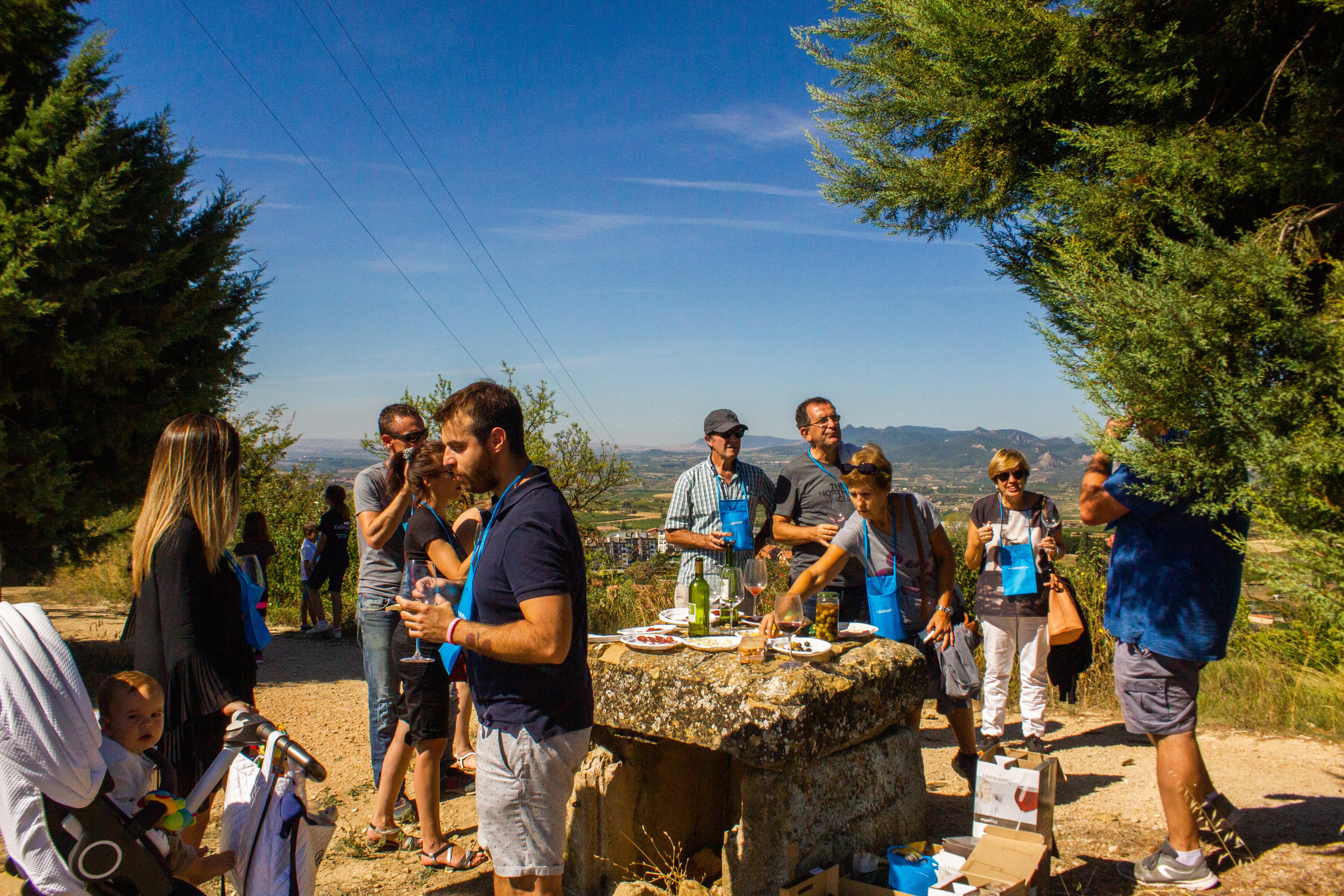 Un grupo de gente en una quedada al aire libre, bebiendo vino, comiendo y pasándoselo bien entre viñedos
